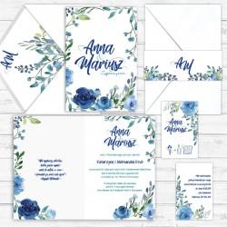 ZAPROSZENIE ślubne personalizowane Róże Atramentowe