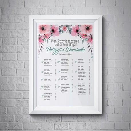 PLAN stołów personalizowany Wiosenne Kwiaty