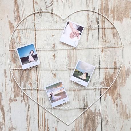 RAMA na zdjęcia metalowa Białe Serce 60cm