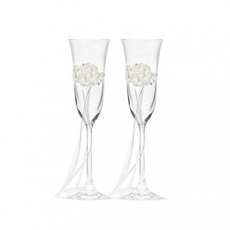 KIELISZKI do szampana Białe Kwiaty 2szt
