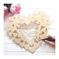 KSIĘGA GOŚCI weselnych drewniane SERCE 36,5x40cm