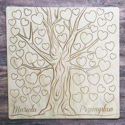 KSIĘGA GOŚCI weselnych drewniana Drzewo Pełne Serc