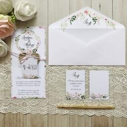 Zaproszenie ślubne personalizowane Brzozowe Serduszko Kwiatowe
