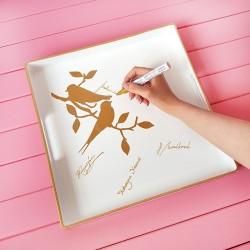 Taca dekoracyjna biała Złote Ptaszki 35,5x35,5 cm