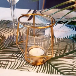 LAMPION na tealight metal+szkło Modern ZŁOTY