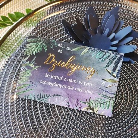 BILECIKI podziękowanie dla gości Botanica Dark 10szt ZŁOTE LITERY