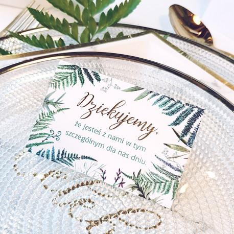 BILECIKI podziękowanie dla gości Botanica 10szt ZŁOTE LITERY
