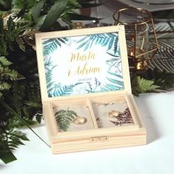 PUDEŁKO na obrączki drewniane Botanica Z IMIONAMI