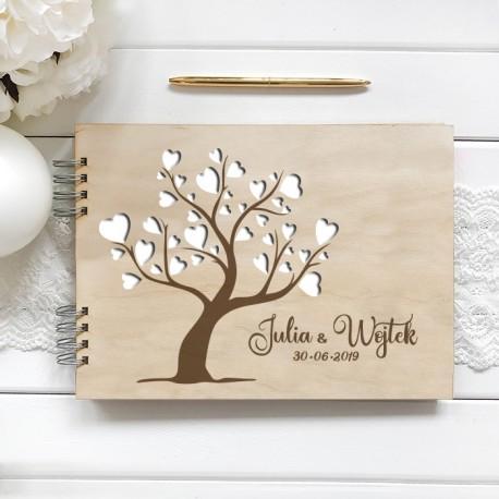 KSIĘGA GOŚCI personalizowana z grawerem Drzewo Serc