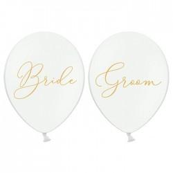 BALONY białe Bride/Groom 30cm 6szt