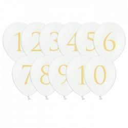 BALONY białe Złote Cyfry 30cm 11szt