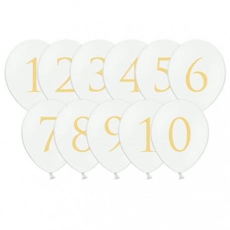 BALONY białe Złote Cyfry 30cm 6szt