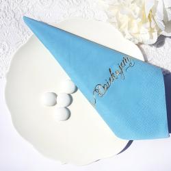 SERWETKI papierowe z napisem Dziękujemy Niebieskie 33x33cm 20szt