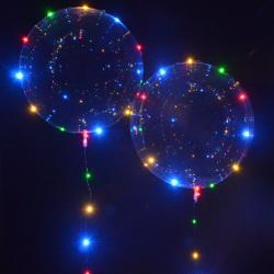 BALON transparentny z kolorowymi lampkami LED