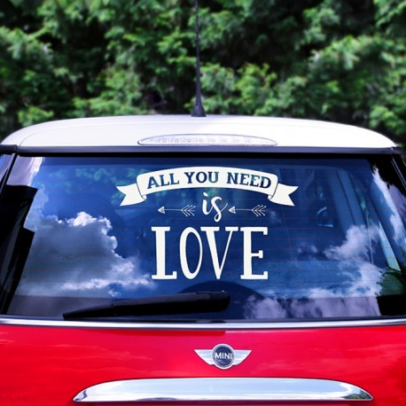 NAKLEJKA na ślubne auto All You Need Is Love
