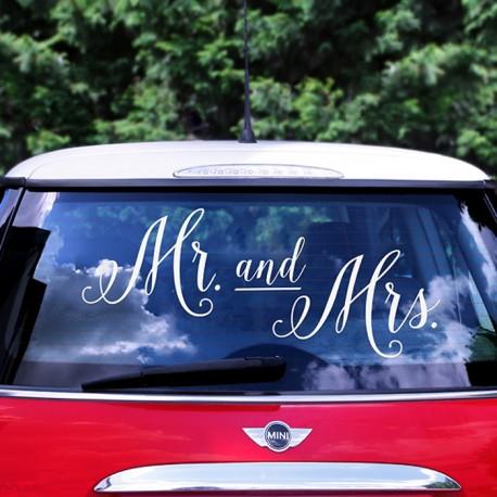 NAKLEJKA na ślubne auto Mr&Mrs