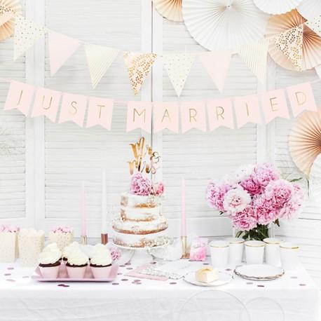 BANER dekoracyjny Just Married Różowe Złoto