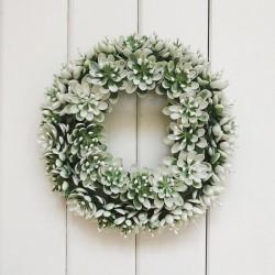 WIANEK dekoracyjny biało-zielony Listki 20cm