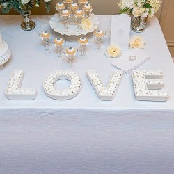ZESTAW podwójnych liter LOVE miski + napis dekoracyjny