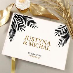 KSIĘGA GOŚCI weselnych Liść Palmowy BIAŁE/CZARNE KARTKI