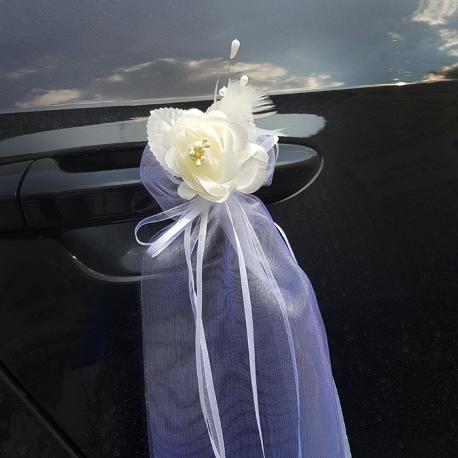 RÓŻE Z TIULEM kremowe do dekoracji auta 2szt