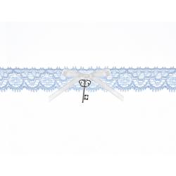 PODWIĄZKA koronkowa błękitna z kluczykiem 24