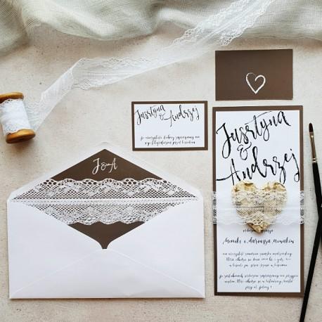 Zaproszenie ślubne Personalizowane Brzozowe Serduszko Z Koronką