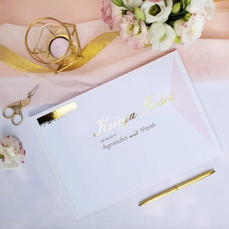 KSIĘGA GOŚCI weselnych Różowe Złoto BIAŁE/CZARNE KARTKI