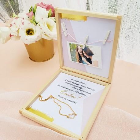 PREZENT dla Świadkowej w drewnianym pudełku Bransoletka Różowe Złoto