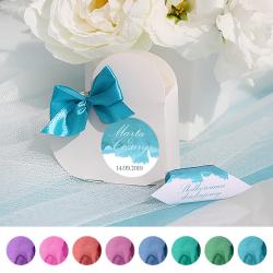 PUDEŁECZKA SERCA personalizowane 10szt Pastelowa Akwarela (+kokardki kolor)