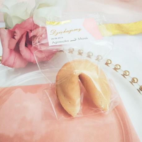 CIASTECZKO dla gości z wróżbą (+etykieta) Różowe Złoto