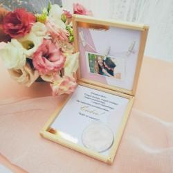 PREZENT dla Świadkowej w drewnianym pudełku Lusterko Różowe Złoto