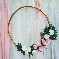 OBRĘCZ dekoracyjna złota Róże 60cm