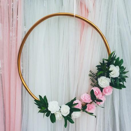 Złota OBRĘCZ dekoracyjna Róże 60cm