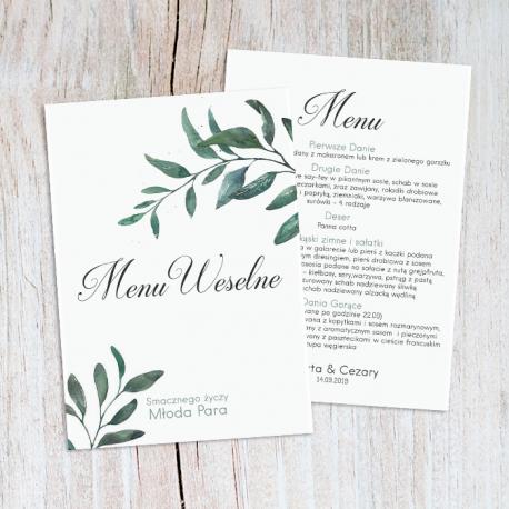 MENU weselne Kolekcja Zielone Gałązki