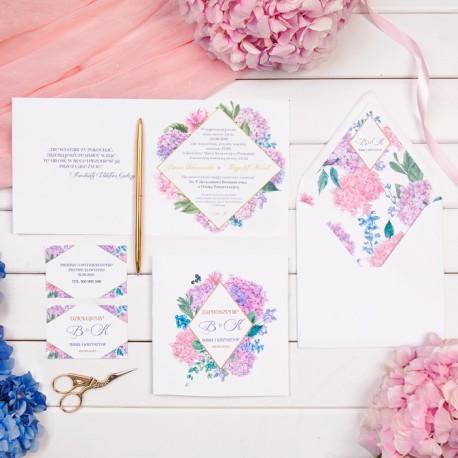 ZAPROSZENIE ślubne personalizowane Hortensje