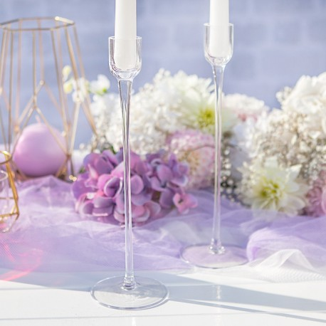Świecznik szklany wysoki na prostą świecę 26cm