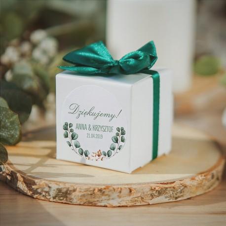 PUDEŁECZKA kwadrat Boho Wedding 10szt. (+etykiety+kokardki)