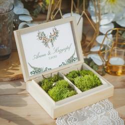 PUDEŁKO na obrączki drewniane Boho Wedding Z IMIONAMI