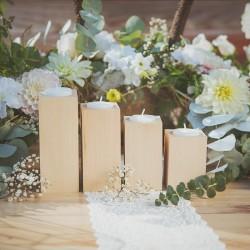 ŚWIECZNIKI na tealighty Lite Drewno zestaw 4szt