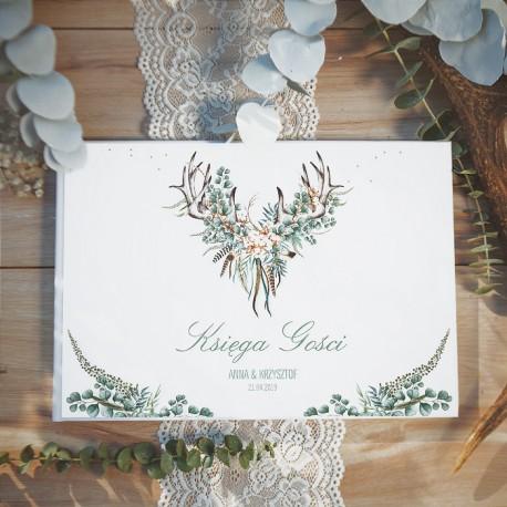 KSIĘGA GOŚCI weselnych Boho Wedding BIAŁE/CZARNE KARTKI