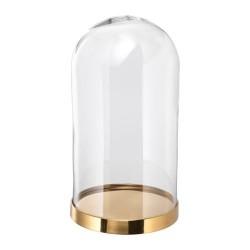 KLOSZ dekoracyjny szklany na złotej podstawie 27cm