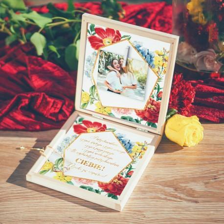 PREZENT dla Świadkowej w drewnianym pudełku Bransoletka Kolekcja Flora