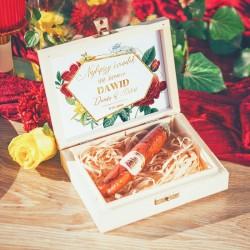 PREZENT dla świadka w drewnianym pudełku CZEKOLADOWE CYGARO Kolekcja Flora