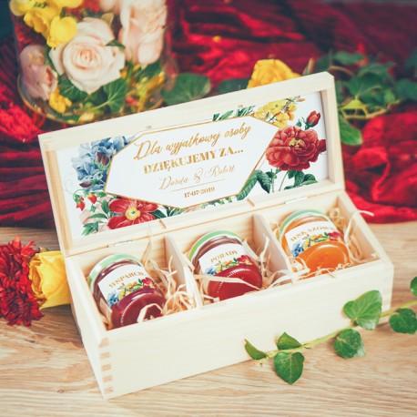 SKRZYNECZKA z konfiturami Słodkie podziękowanie dla wyjątkowej osoby Kolekcja Flora