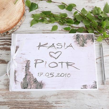 KSIĘGA GOŚCI weselnych Wyryte w drzewie BIAŁE/CZARNE KARTKI
