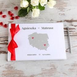 KSIĘGA GOŚCI weselnych Mapa Polski BIAŁE/CZARNE KARTKI