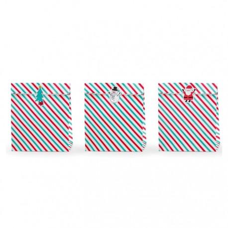TOREBKI papierowe na prezenty w kolorowe paski 3szt