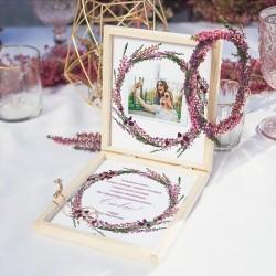 PREZENT dla Świadkowej w drewnianym pudełku Bransoletka Polne Wrzosy