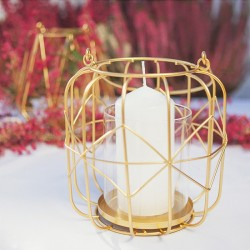 LAMPION do zawieszenia geometryczny złoty śr. 10cm